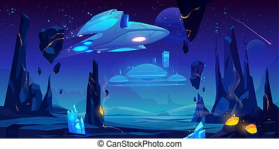 étranger, planète, vaisseau spatial, station, interstellaire