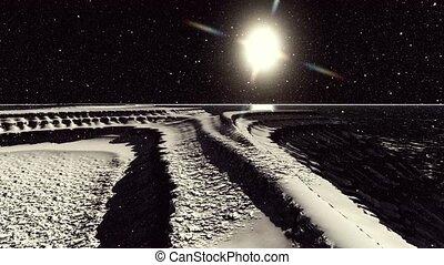 étranger, surface, cratères, planète, rendre, lune, ou, 3d
