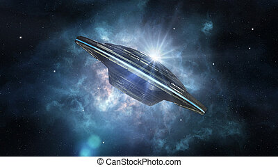 étranger, vaisseau spatial, profond, espace