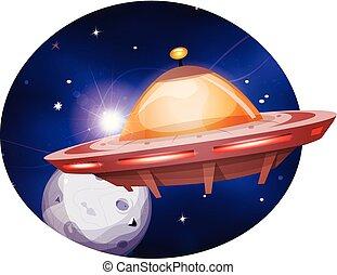 étranger, vaisseau spatial, voyager, fond, espace