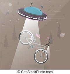étranger, voler, à, lumières, prîmes, les, bike., rigolote, dessin animé, vecteur, illustration, .