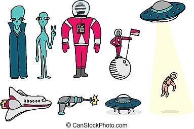 étrangers, ensemble, /, astronautes, espace