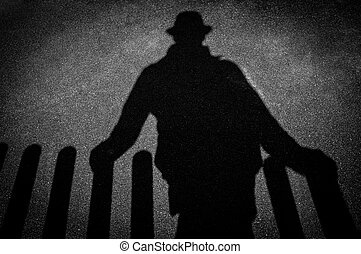 étrangers, ombre, trottoir