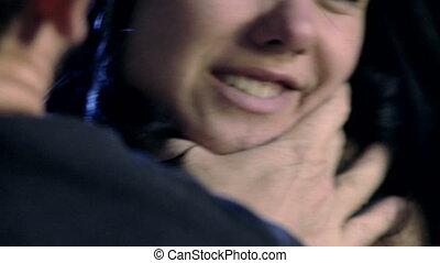 étranglement, femme, closeup, main