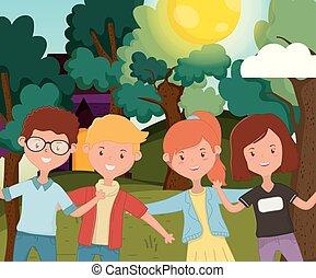 étreindre, arbres, extérieur, jeunes, maison, herbe