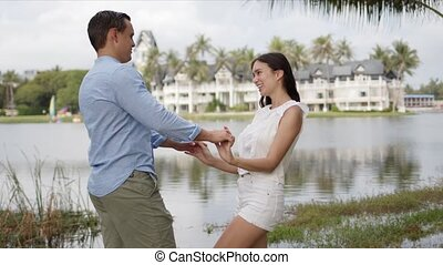 étreindre, exotique, couple, littoral, touristes