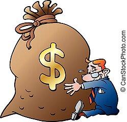 étreindre, homme affaires, argent, sac