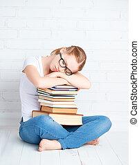 étreindre, livres, endormi, étudiant, girl, ired
