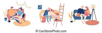 étreindre, maison, thé, interior., gens, ensemble, boisson, dépenser, vecteur, illustration, femme, vin, ligne fixe, divan, set., dessin animé, homme, couples affectueux, temps, art, romance, hétérosexuel, amour, jeune