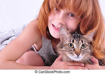 étreindre, petite fille, elle, chat