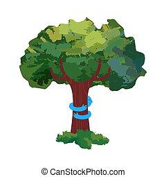 étreinte, amour, nature, arbre, illustration, concept