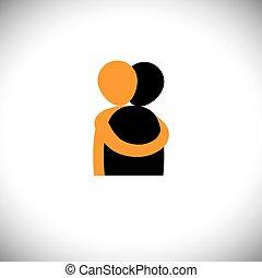étreinte, gens, autre, graphic., -, vecteur, embrasser, chaque, amis