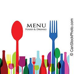 étrend, tervezés, fedő, retro, étterem