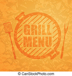 étrend, vektor, grill, tervezés