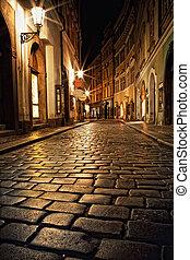 étroit, prague, lanternes, ruelle, nuit