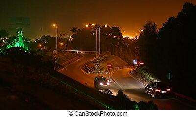 étroit, voitures, night., long., ha, route
