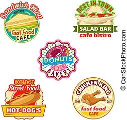 étterem, bisztró, bolt, élelmiszer, gyorsan, fánk, kávéház, ikon