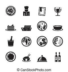 étterem, táplálék ital, ikonok