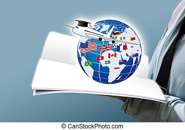 étude, à l'étranger, concept, conception, de, jeune femme, livre ouvert, et, mondiale, education, à, drapeau national