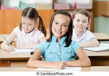 étude, élèves, content