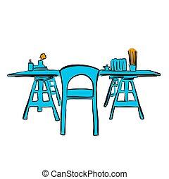 étude, bureau, à, bois, chaise bureau