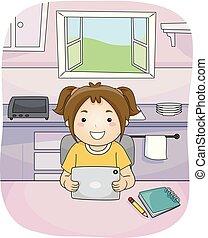 étude, cuisine, tablette, girl, gosse, illustration