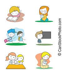 étude, ensemble, gosses