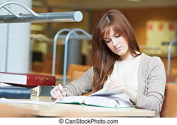 étude, girl, livre, bibliothèque, étudiant, jeune
