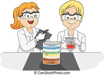 étude, gosses, physique, laboratoire, densité