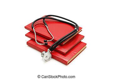 étude, isolé, livres, stéthoscope, blanc, pile