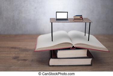 étude, ordinateur portable, bureau, livres