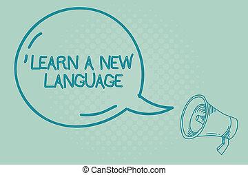 étude, photo, projection, apprendre, language., signe, autre, texte, mots, mère, conceptuel, nouveau, langue, que, indigène