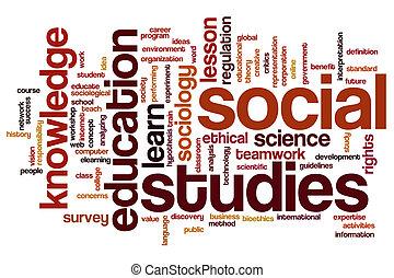 études, mot, nuage, social