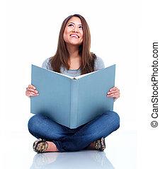 étudiant, à, book.