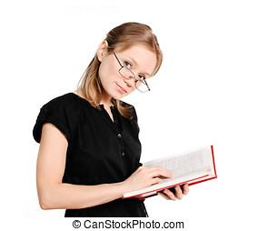 étudiant, à, livre