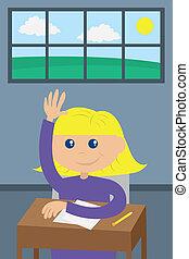 étudiant, élevant main
