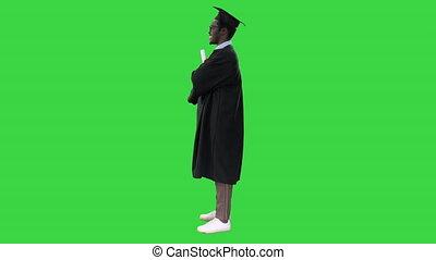 étudiant, américain, plier, remise de diplomes, écran, grand, mâle, key., robe, chroma, diplôme, bras, sourire, regarder, africaine, vert