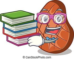 étudiant, boeuf, isolé, livre, délicieux, bifteck, mascotte