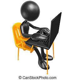 étudiant, bureau, à, ordinateur portable