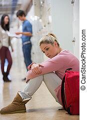 étudiant, couloir, séance, plancher