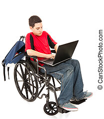 étudiant, dans, fauteuil roulant, à, ordinateur portable