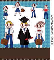 étudiant, dessin animé, carte