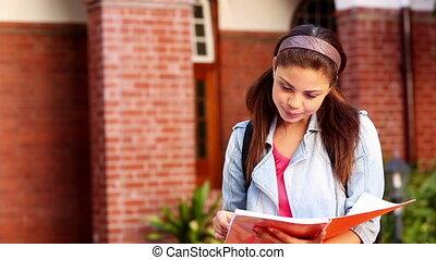 étudiant, dossier, heureux, lecture