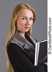 étudiant féminin, à, dossier