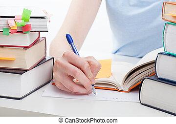 étudiant, faire, les, notes