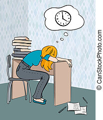 étudiant, fatigué