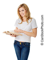 étudiant, femme, à, livre