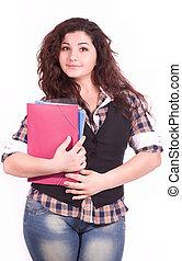 étudiant fille, cahier