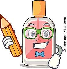 étudiant, forme, parfum, botlle, dessin animé