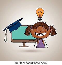 étudiant, girl, ordinateur portable, remise de diplomes, idée
